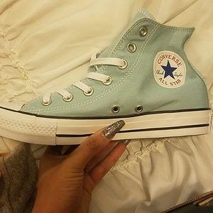 Baby blue converse high tops